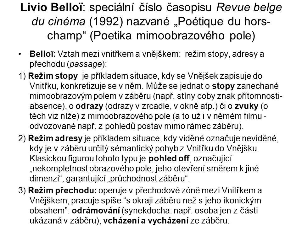 """Livio Belloï: speciální číslo časopisu Revue belge du cinéma (1992) nazvané """"Poétique du hors- champ"""" (Poetika mimoobrazového pole) Belloï: Vztah mezi"""