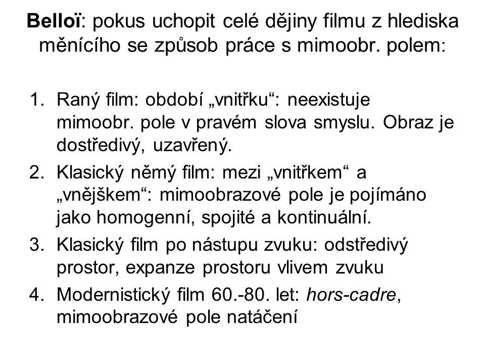"""Belloï: pokus uchopit celé dějiny filmu z hlediska měnícího se způsob práce s mimoobr. polem : 1.Raný film: období """"vnitřku"""": neexistuje mimoobr. pole"""