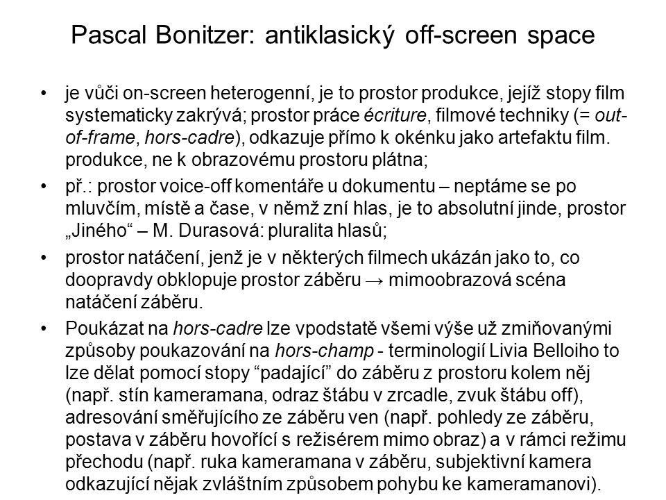 Pascal Bonitzer: antiklasický off-screen space je vůči on-screen heterogenní, je to prostor produkce, jejíž stopy film systematicky zakrývá; prostor p