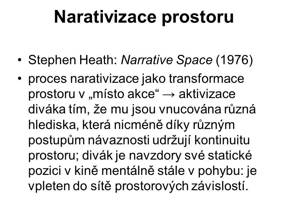 """Narativizace prostoru Stephen Heath: Narrative Space (1976) proces narativizace jako transformace prostoru v """"místo akce"""" → aktivizace diváka tím, že"""