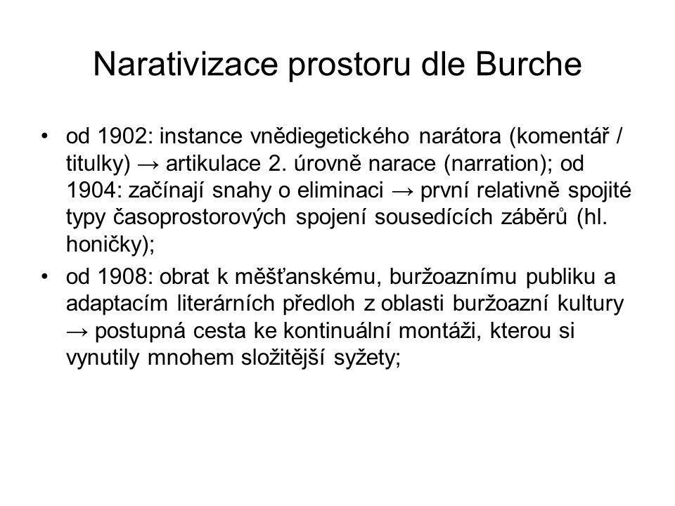 Narativizace prostoru dle Burche od 1902: instance vnědiegetického narátora (komentář / titulky) → artikulace 2. úrovně narace (narration); od 1904: z