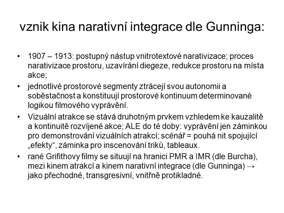vznik kina narativní integrace dle Gunninga: 1907 – 1913: postupný nástup vnitrotextové narativizace; proces narativizace prostoru, uzavírání diegeze,