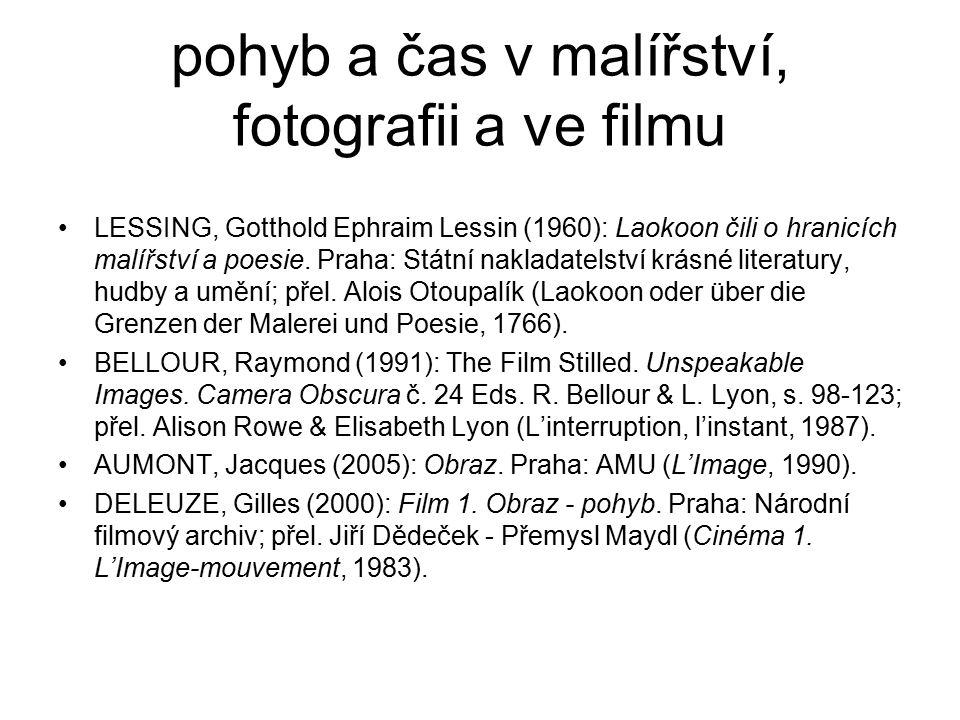 pohyb a čas v malířství, fotografii a ve filmu LESSING, Gotthold Ephraim Lessin (1960): Laokoon čili o hranicích malířství a poesie. Praha: Státní nak