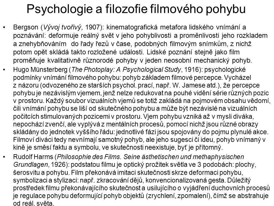 Psychologie a filozofie filmového pohybu Bergson (Vývoj tvořivý, 1907): kinematografická metafora lidského vnímání a poznávání: deformuje reálný svět