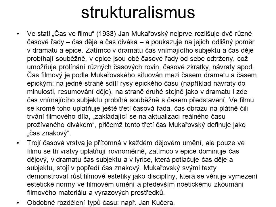 """strukturalismus Ve stati """"Čas ve filmu"""" (1933) Jan Mukařovský nejprve rozlišuje dvě různé časové řady – čas děje a čas diváka – a poukazuje na jejich"""