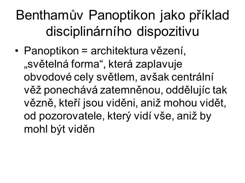 """Benthamův Panoptikon jako příklad disciplinárního dispozitivu Panoptikon = architektura vězení, """"světelná forma"""", která zaplavuje obvodové cely světle"""