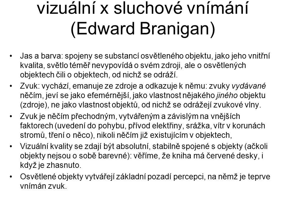 vizuální x sluchové vnímání (Edward Branigan) Jas a barva: spojeny se substancí osvětleného objektu, jako jeho vnitřní kvalita, světlo téměř nevypovíd