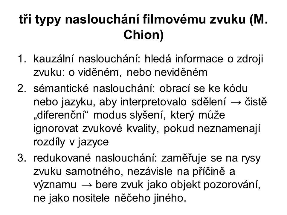 tři typy naslouchání filmovému zvuku (M. Chion) 1.kauzální naslouchání: hledá informace o zdroji zvuku: o viděném, nebo neviděném 2.sémantické naslouc
