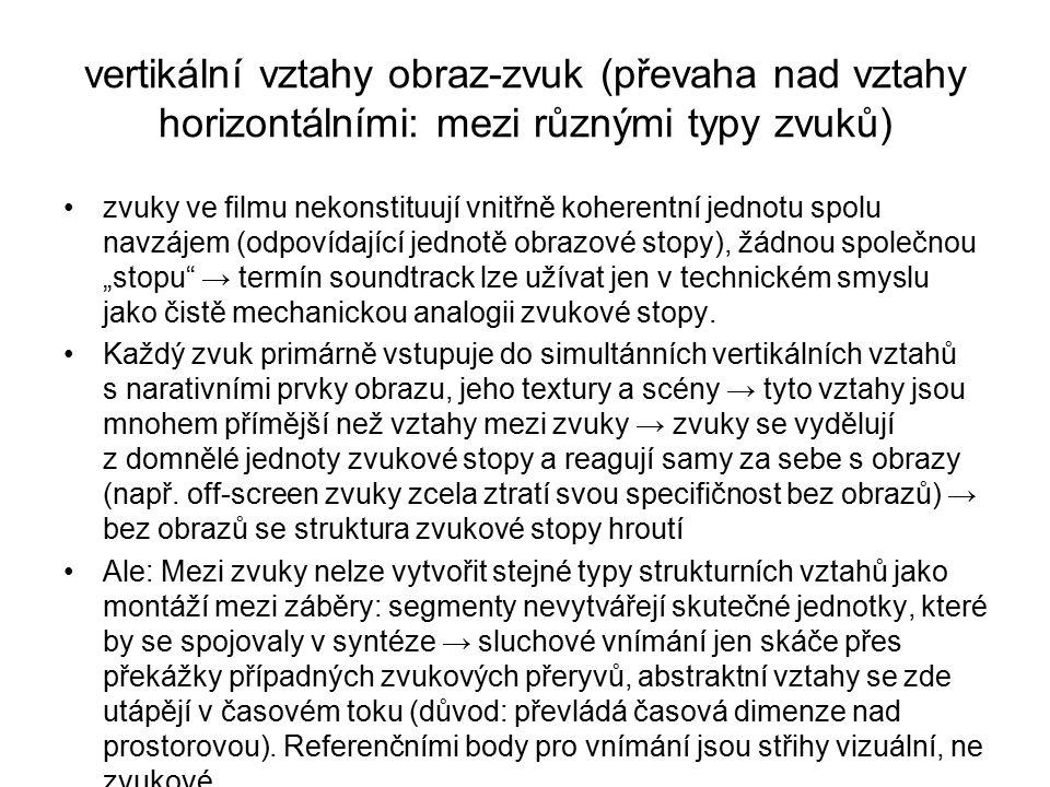 vertikální vztahy obraz-zvuk (převaha nad vztahy horizontálními: mezi různými typy zvuků) zvuky ve filmu nekonstituují vnitřně koherentní jednotu spol