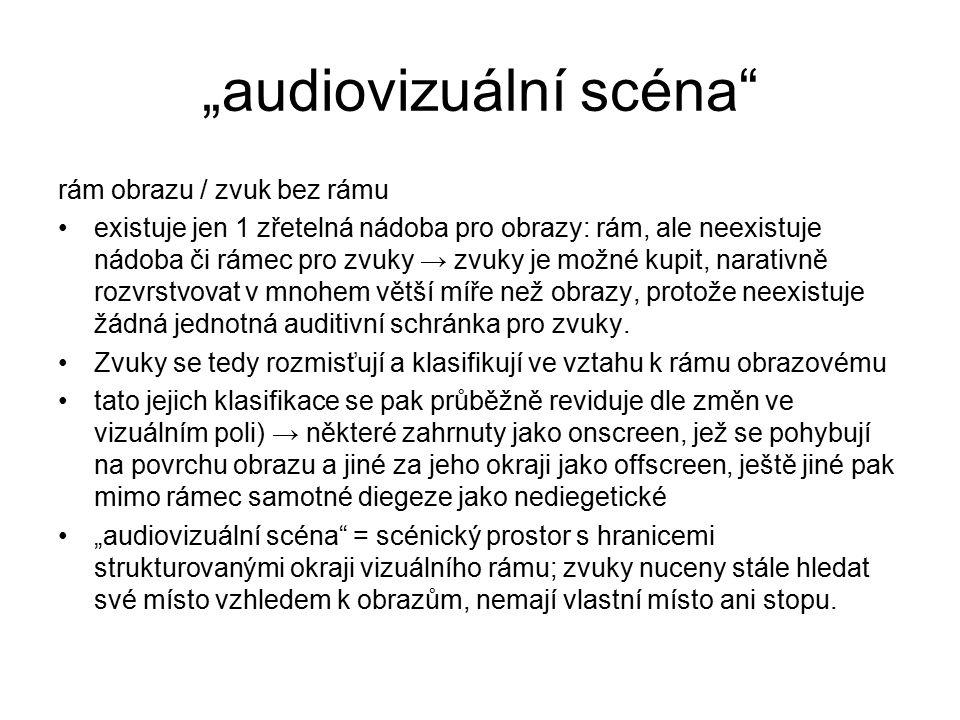 """""""audiovizuální scéna"""" rám obrazu / zvuk bez rámu existuje jen 1 zřetelná nádoba pro obrazy: rám, ale neexistuje nádoba či rámec pro zvuky → zvuky je m"""
