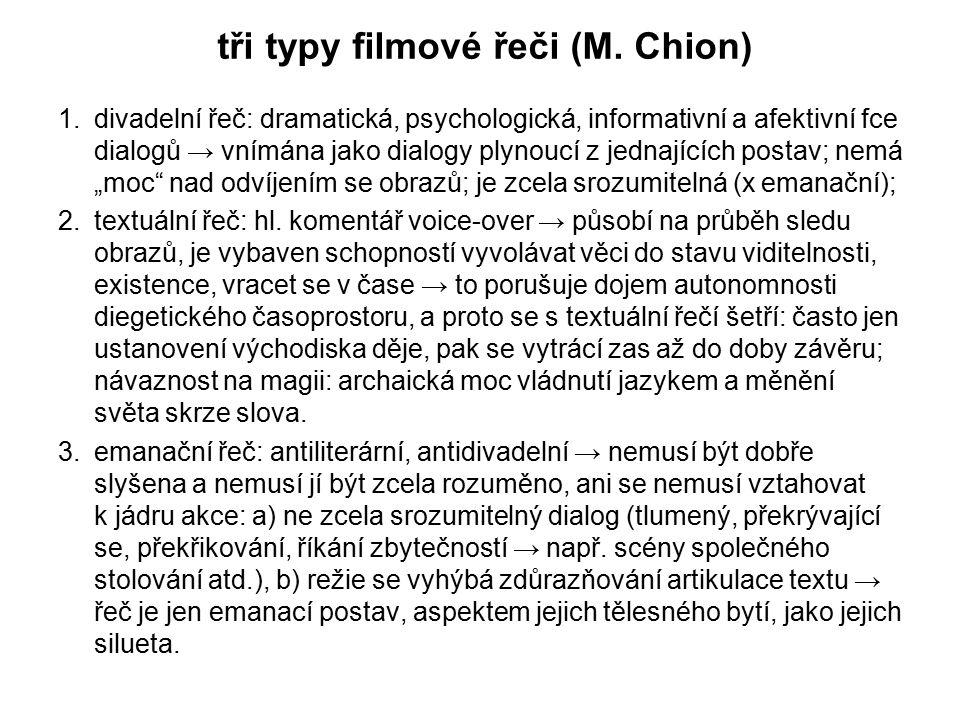 tři typy filmové řeči (M. Chion) 1.divadelní řeč: dramatická, psychologická, informativní a afektivní fce dialogů → vnímána jako dialogy plynoucí z je