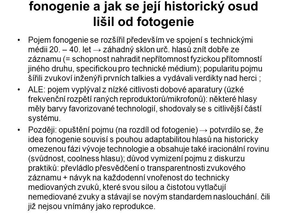 fonogenie a jak se její historický osud lišil od fotogenie Pojem fonogenie se rozšířil především ve spojení s technickými médii 20. – 40. let → záhadn
