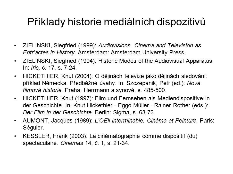 Příklady historie mediálních dispozitivů ZIELINSKI, Siegfried (1999): Audiovisions. Cinema and Television as Entr'actes in History. Amsterdam: Amsterd