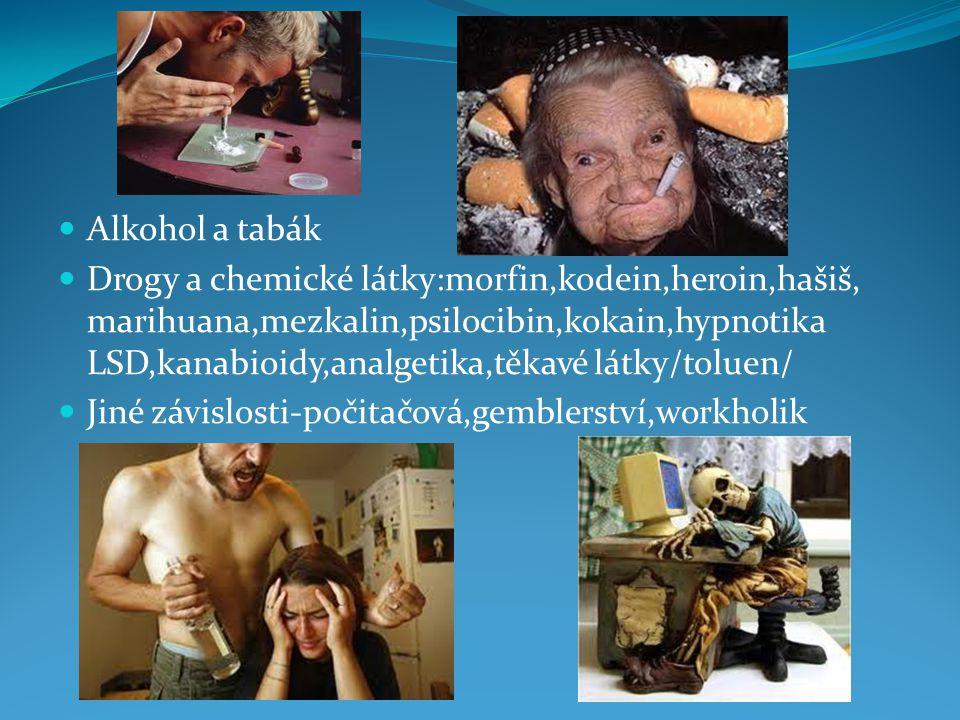 Alkohol a tabák Drogy a chemické látky:morfin,kodein,heroin,hašiš, marihuana,mezkalin,psilocibin,kokain,hypnotika LSD,kanabioidy,analgetika,těkavé lát