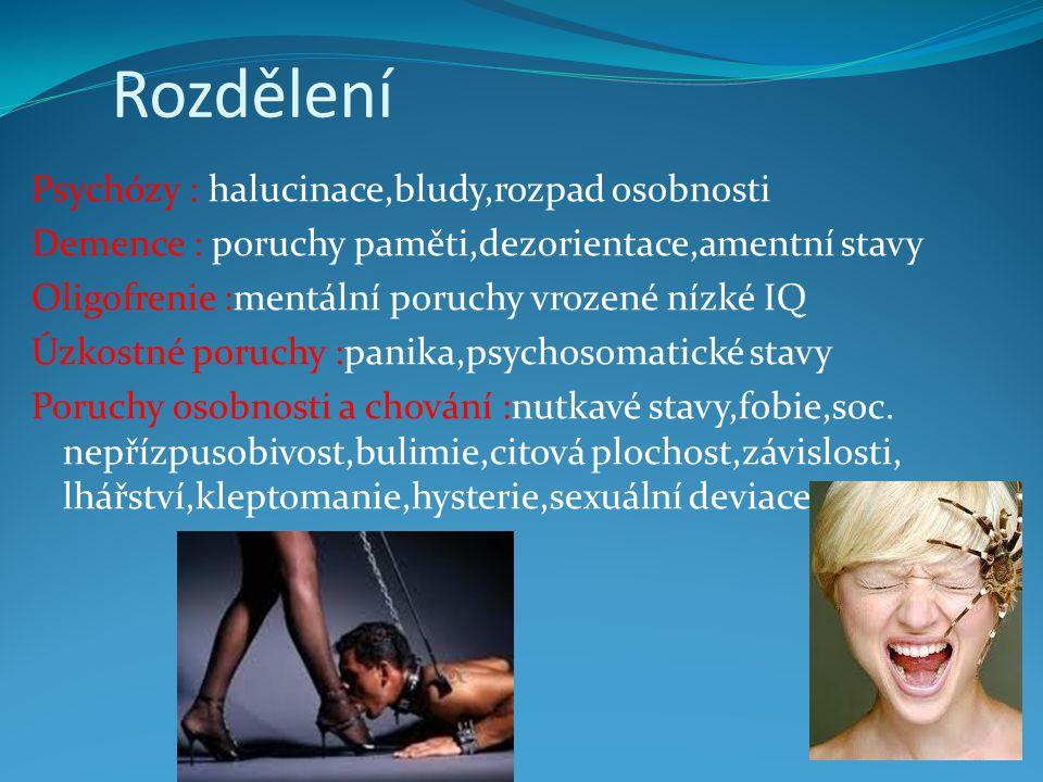 Rozdělení Psychózy : halucinace,bludy,rozpad osobnosti Demence : poruchy paměti,dezorientace,amentní stavy Oligofrenie :mentální poruchy vrozené nízké