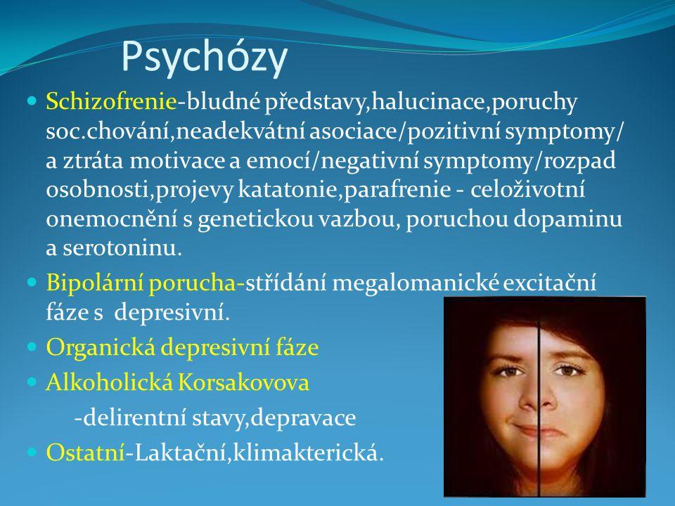 Psychózy Schizofrenie-bludné představy,halucinace,poruchy soc.chování,neadekvátní asociace/pozitivní symptomy/ a ztráta motivace a emocí/negativní sym