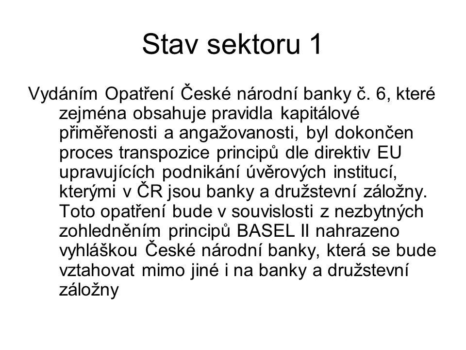 Stav sektoru 1 Vydáním Opatření České národní banky č.