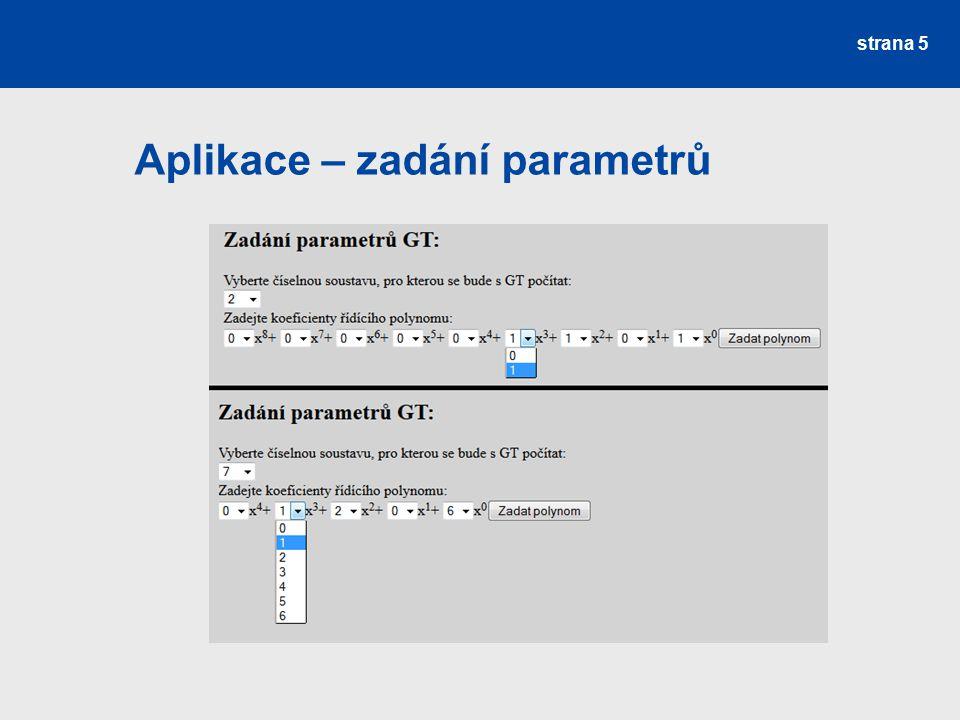 Aplikace – zadání parametrů strana 5