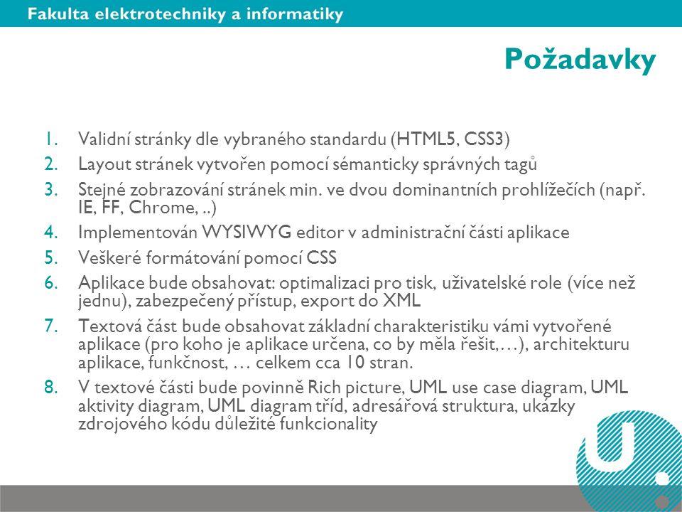 Požadavky 1.Validní stránky dle vybraného standardu (HTML5, CSS3) 2.Layout stránek vytvořen pomocí sémanticky správných tagů 3.Stejné zobrazování stránek min.