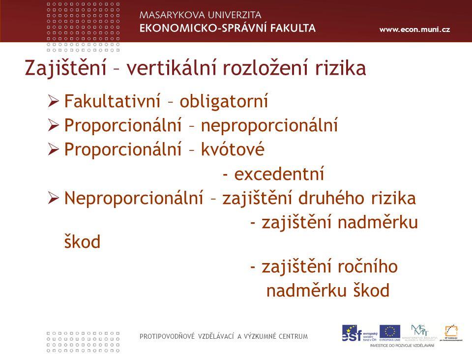 www.econ.muni.cz PROTIPOVODŇOVÉ VZDĚLÁVACÍ A VÝZKUMNÉ CENTRUM Zajištění – vertikální rozložení rizika  Fakultativní – obligatorní  Proporcionální –