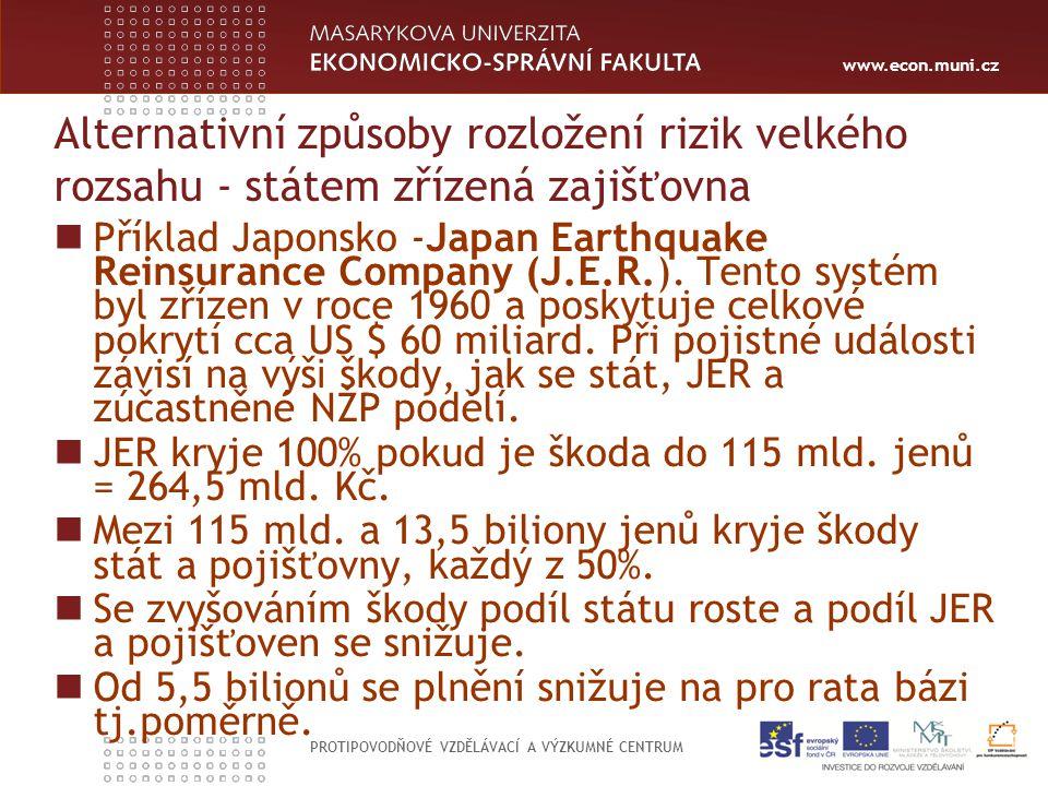 www.econ.muni.cz PROTIPOVODŇOVÉ VZDĚLÁVACÍ A VÝZKUMNÉ CENTRUM Alternativní způsoby rozložení rizik velkého rozsahu - státem zřízená zajišťovna Příklad Japonsko -Japan Earthquake Reinsurance Company (J.E.R.).