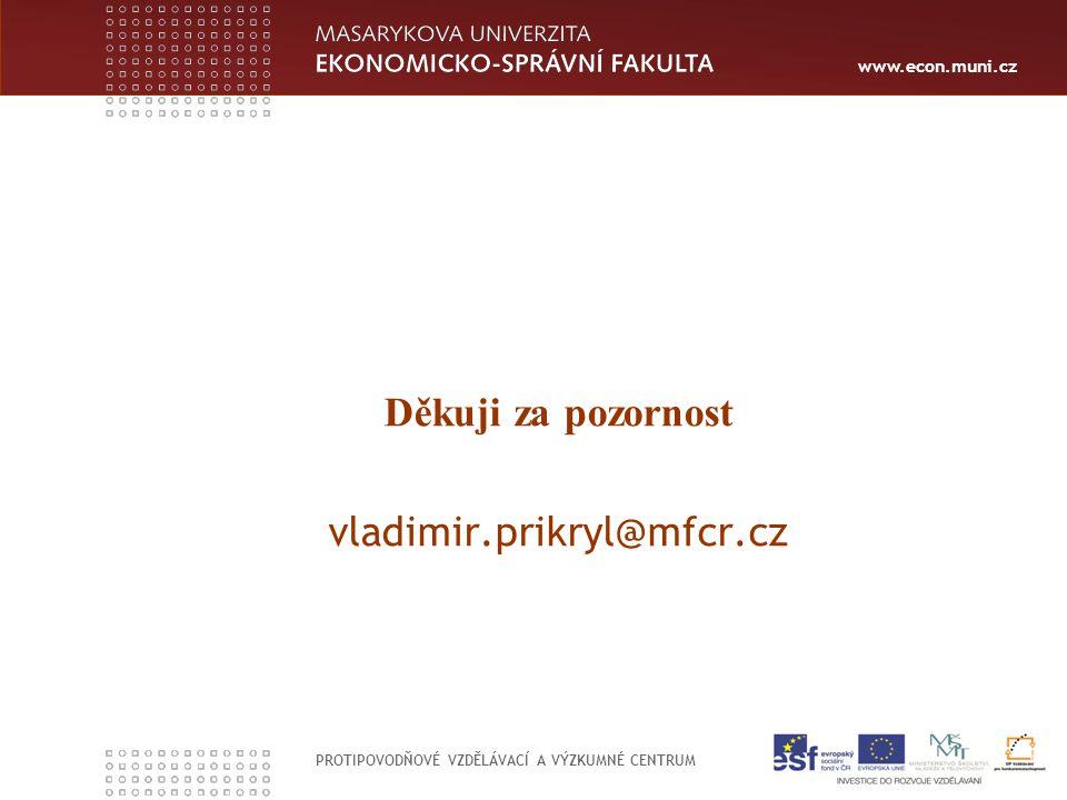 www.econ.muni.cz PROTIPOVODŇOVÉ VZDĚLÁVACÍ A VÝZKUMNÉ CENTRUM Děkuji za pozornost vladimir.prikryl@mfcr.cz