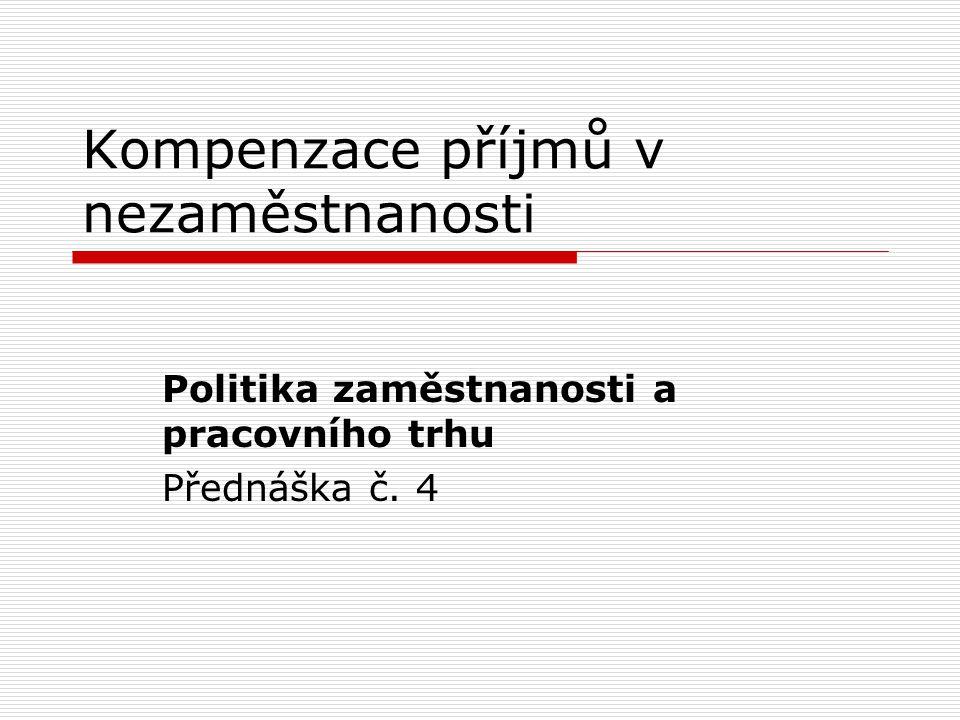"""obsah  Vývoj schémat kompenzace příjmu v nezaměstnanosti  Současné systémy kompenzace příjmu v nezaměstnanosti  Charakteristiky schémat podpory v nezaměstnanosti  Typologie """"režimů nezaměstnanosti  Účinky dávek v nezaměstnanosti  Systém podpor v ČR  Příklady: VB, Dánsko, Slovensko"""