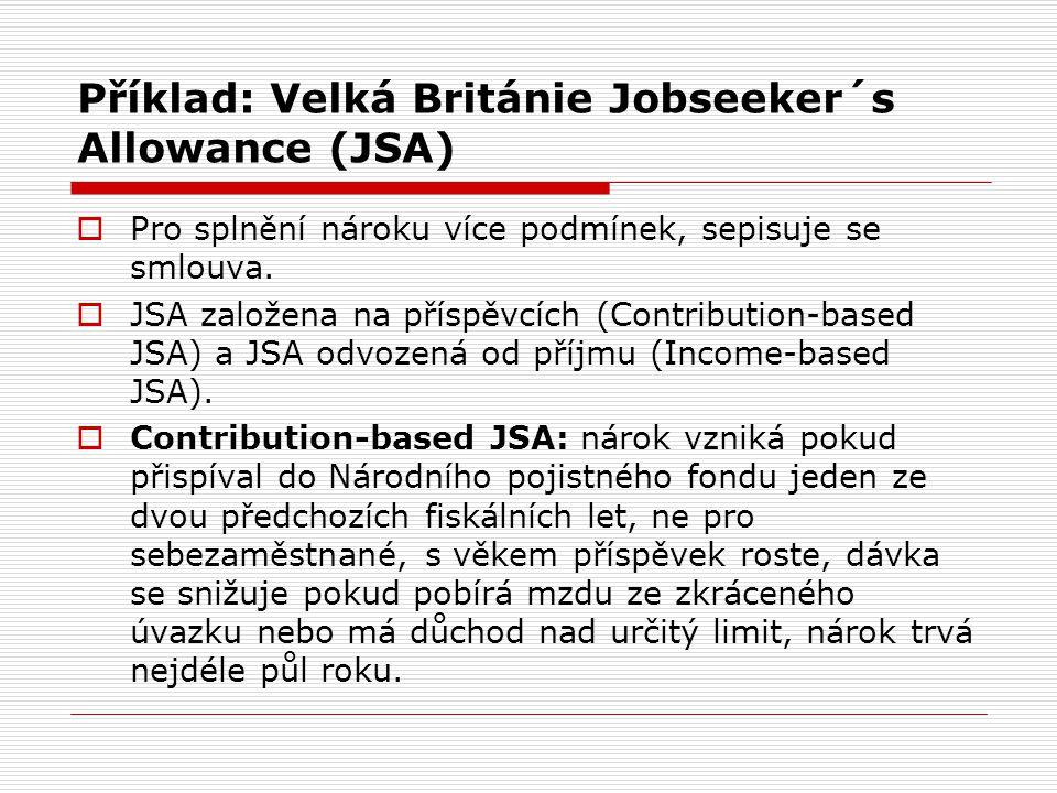 Příklad: Velká Británie Jobseeker´s Allowance (JSA)  Pro splnění nároku více podmínek, sepisuje se smlouva.