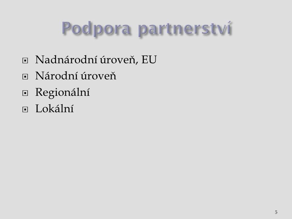  Nadnárodní úroveň, EU  Národní úroveň  Regionální  Lokální 5