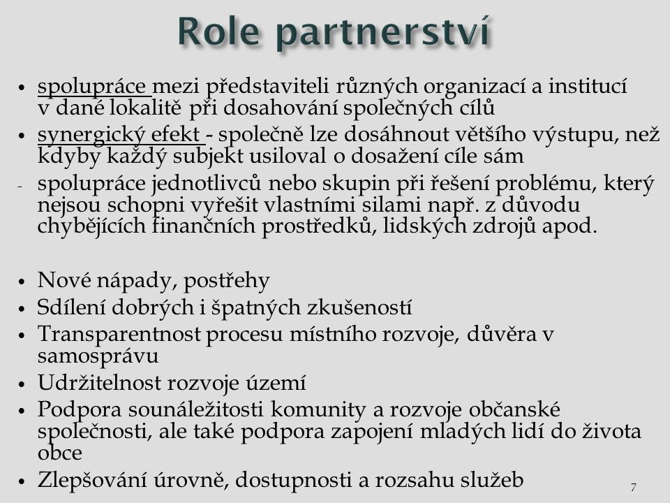 7 spolupráce mezi představiteli různých organizací a institucí v dané lokalitě při dosahování společných cílů synergický efekt - společně lze dosáhnou