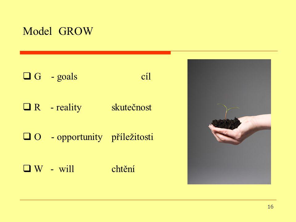16 Model GROW  W - will chtění  G - goals cíl  R - reality skutečnost  O - opportunity příležitosti