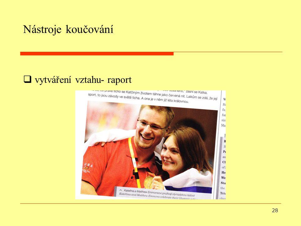 28 Nástroje koučování  vytváření vztahu- raport