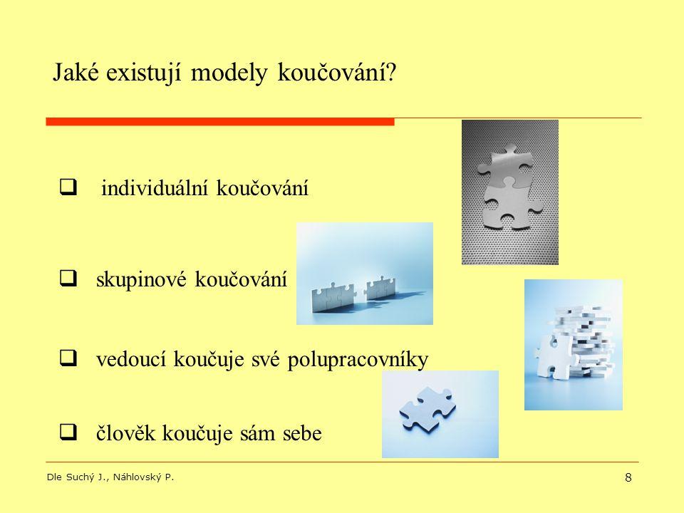 8  individuální koučování  skupinové koučování Jaké existují modely koučování? Dle Suchý J., Náhlovský P.  člověk koučuje sám sebe  vedoucí koučuj