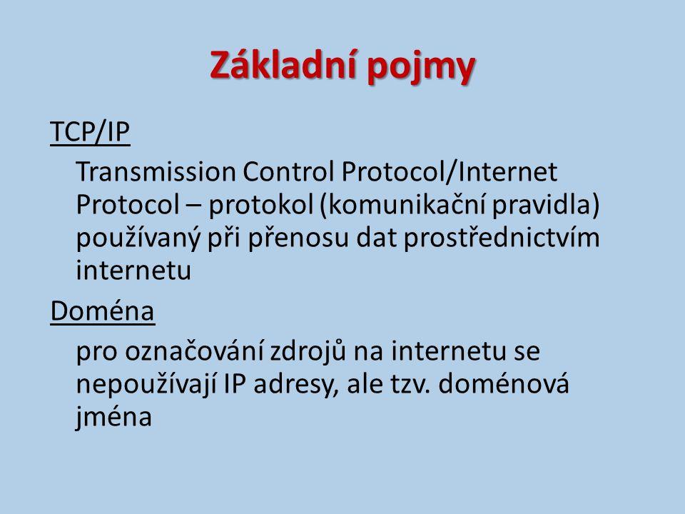 Základní pojmy TCP/IP Transmission Control Protocol/Internet Protocol – protokol (komunikační pravidla) používaný při přenosu dat prostřednictvím internetu Doména pro označování zdrojů na internetu se nepoužívají IP adresy, ale tzv.