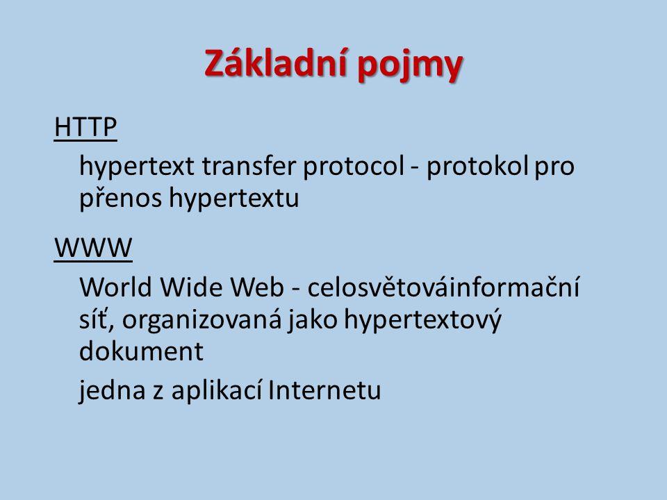 Základní pojmy HTTP hypertext transfer protocol - protokol pro přenos hypertextu WWW World Wide Web - celosvětováinformační síť, organizovaná jako hypertextový dokument jedna z aplikací Internetu