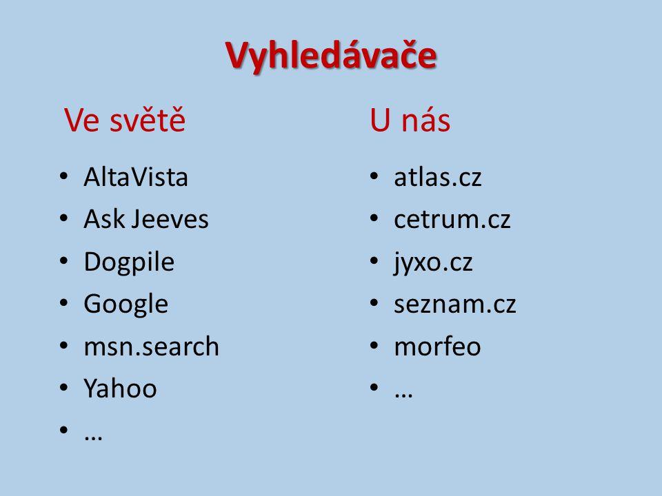 Vyhledávače AltaVista Ask Jeeves Dogpile Google msn.search Yahoo … atlas.cz cetrum.cz jyxo.cz seznam.cz morfeo … Ve světěU nás