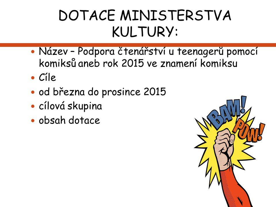 DOTACE MINISTERSTVA KULTURY: Název – Podpora čtenářství u teenagerů pomocí komiksů aneb rok 2015 ve znamení komiksu Cíle od března do prosince 2015 cí
