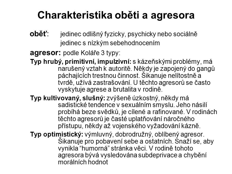 Charakteristika oběti a agresora oběť: jedinec odlišný fyzicky, psychicky nebo sociálně jedinec s nízkým sebehodnocením agresor: podle Koláře 3 typy: