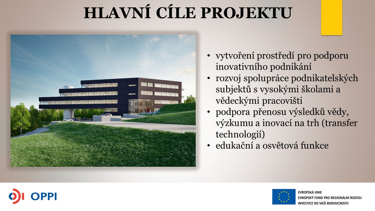 vytvoření prostředí pro podporu inovativního podnikání rozvoj spolupráce podnikatelských subjektů s vysokými školami a vědeckými pracovišti podpora přenosu výsledků vědy, výzkumu a inovací na trh (transfer technologií) edukační a osvětová funkce HLAVNÍ CÍLE PROJEKTU