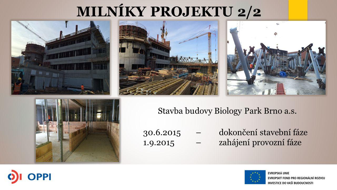MILNÍKY PROJEKTU 2/2 Stavba budovy Biology Park Brno a.s. 30.6.2015 – dokončení stavební fáze 1.9.2015 – zahájení provozní fáze