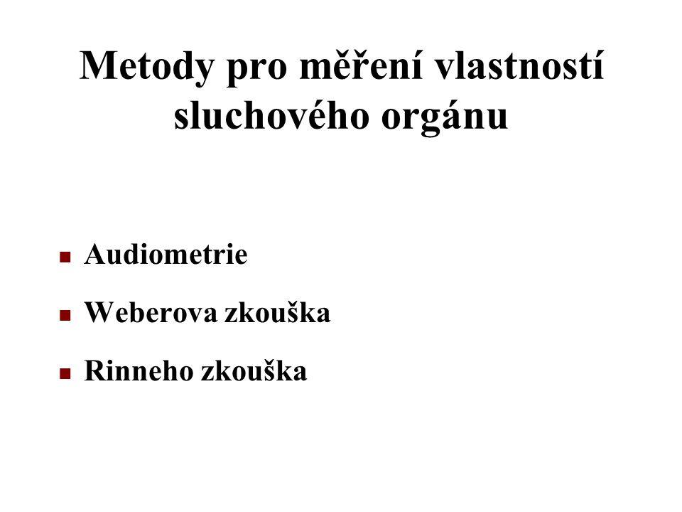 Metody pro měření vlastností sluchového orgánu Audiometrie Weberova zkouška Rinneho zkouška
