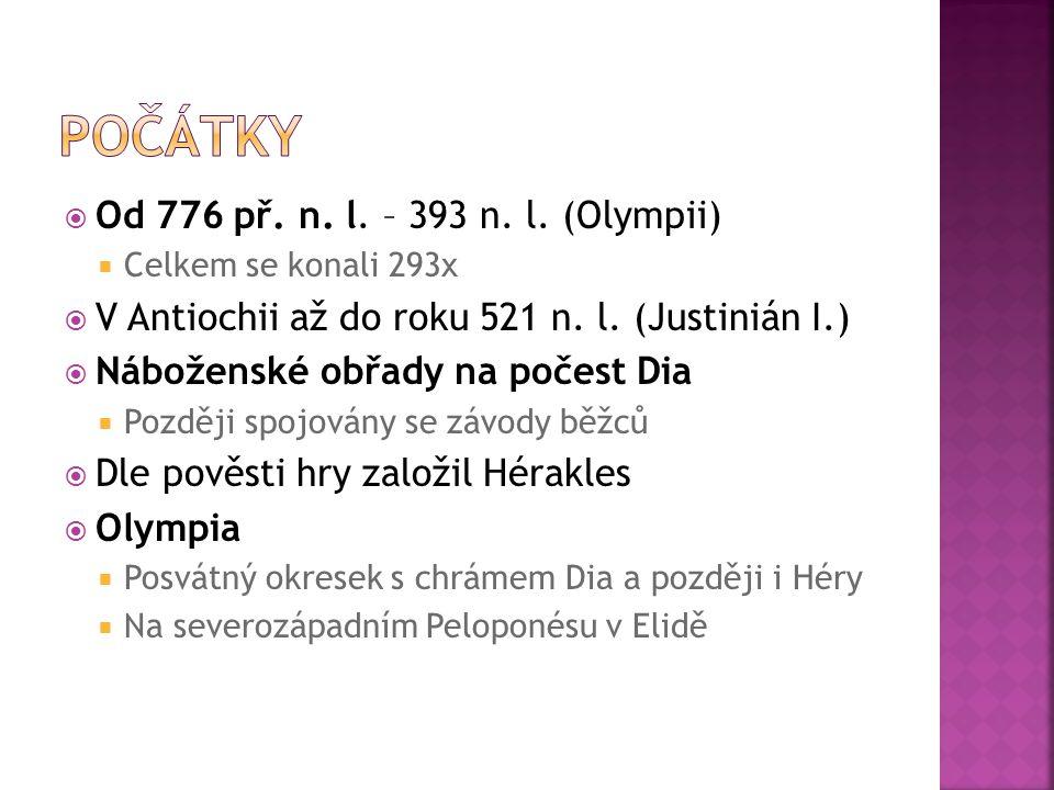  Od 776 př. n. l. – 393 n. l. (Olympii)  Celkem se konali 293x  V Antiochii až do roku 521 n. l. (Justinián I.)  Náboženské obřady na počest Dia 