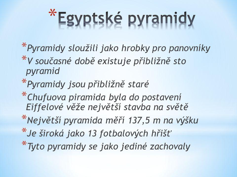 * Pyramidy sloužili jako hrobky pro panovníky * V současné době existuje přibližně sto pyramid * Pyramidy jsou přibližně staré * Chufuova piramida byla do postavení Eiffelové věže největší stavba na světě * Největší pyramida měří 137,5 m na výšku * Je široká jako 13 fotbalových hřišť * Tyto pyramidy se jako jediné zachovaly