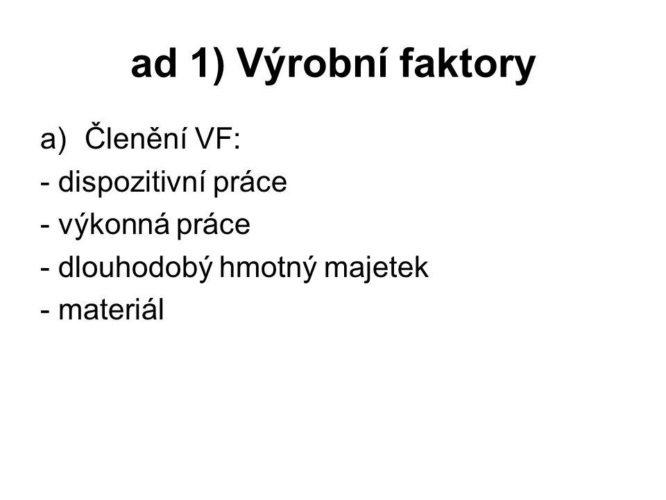 ad 1) Výrobní faktory a)Členění VF: - dispozitivní práce - výkonná práce - dlouhodobý hmotný majetek - materiál