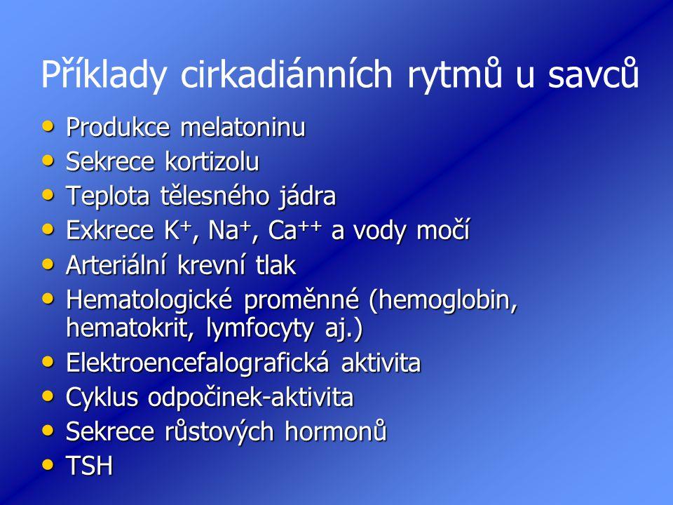 Příklady cirkadiánních rytmů u savců Produkce melatoninu Produkce melatoninu Sekrece kortizolu Sekrece kortizolu Teplota tělesného jádra Teplota tělesného jádra Exkrece K +, Na +, Ca ++ a vody močí Exkrece K +, Na +, Ca ++ a vody močí Arteriální krevní tlak Arteriální krevní tlak Hematologické proměnné (hemoglobin, hematokrit, lymfocyty aj.) Hematologické proměnné (hemoglobin, hematokrit, lymfocyty aj.) Elektroencefalografická aktivita Elektroencefalografická aktivita Cyklus odpočinek-aktivita Cyklus odpočinek-aktivita Sekrece růstových hormonů Sekrece růstových hormonů TSH TSH