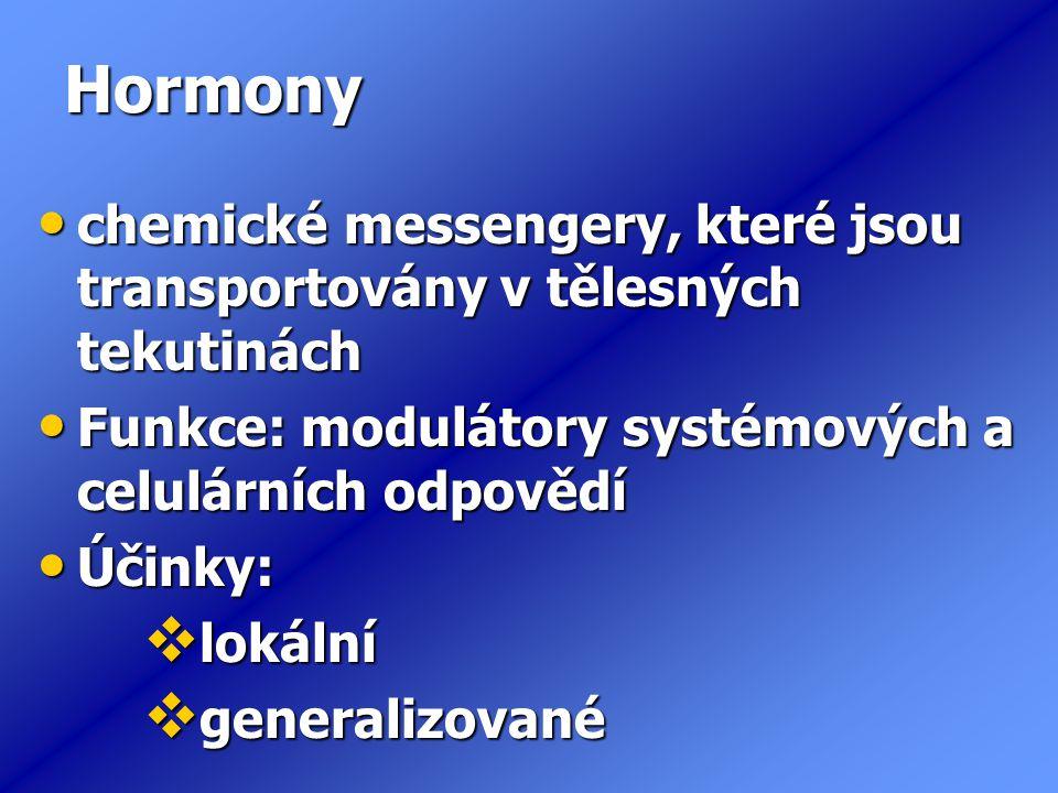Hormony chemické messengery, které jsou transportovány v tělesných tekutinách chemické messengery, které jsou transportovány v tělesných tekutinách Funkce: modulátory systémových a celulárních odpovědí Funkce: modulátory systémových a celulárních odpovědí Účinky: Účinky:  lokální  generalizované