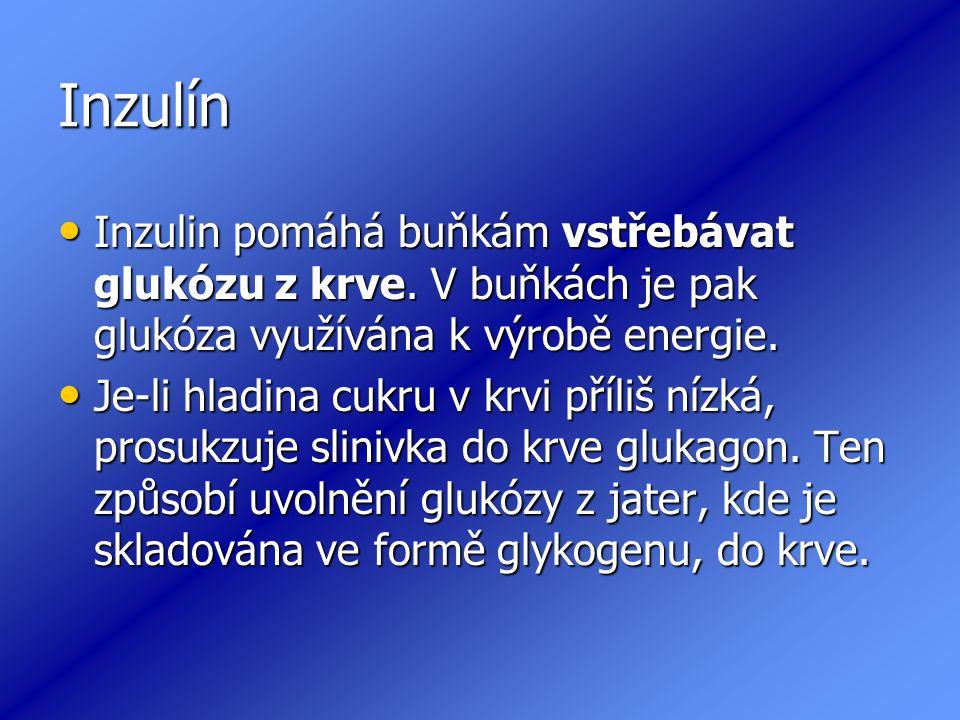 Inzulín Inzulin pomáhá buňkám vstřebávat glukózu z krve.