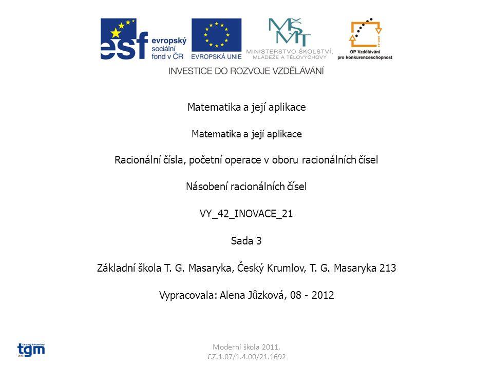 Matematika a její aplikace Racionální čísla, početní operace v oboru racionálních čísel Násobení racionálních čísel VY_42_INOVACE_21 Sada 3 Základní škola T.