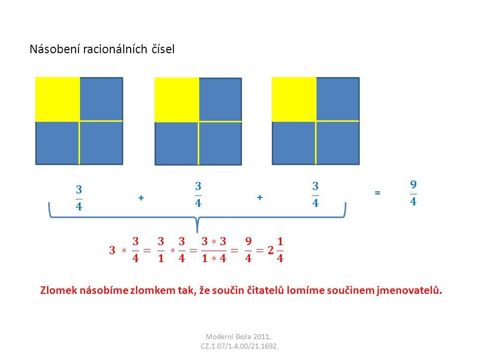 Násobení racionálních čísel Moderní škola 2011, CZ.1.07/1.4.00/21.1692 + + = Zlomek násobíme zlomkem tak, že součin čitatelů lomíme součinem jmenovatelů.
