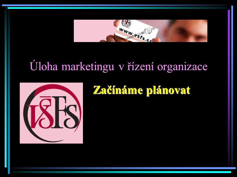 Úloha marketingu v řízení organizace Začínáme plánovat